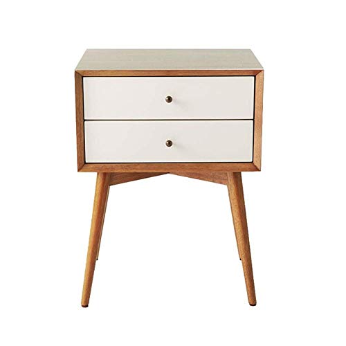 Corner Storage Unit (HYLH Side Tables,Tables MDF Retro 2 Drawer Bedside Table Side Storage Unit (Color : Teak Color+White, Size : 46 * 38 * 61cm))