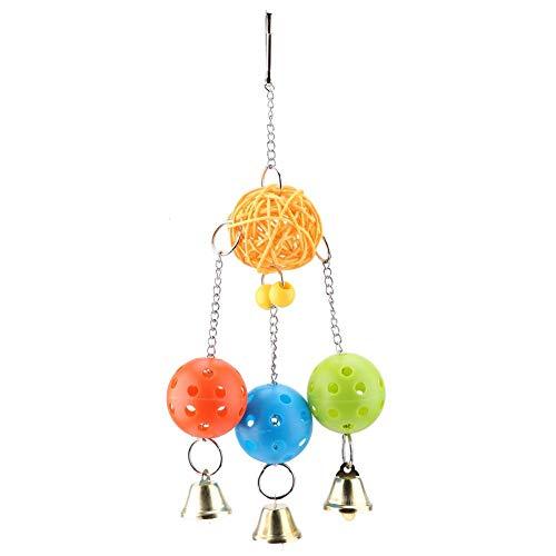 Giocattolo da masticare pappagallo, colorato appeso altalena palline di plastica giocattolo con campane Pet uccelli arrampicata giocattolo per piccole gabbie da parrocchetto accessori decorativi