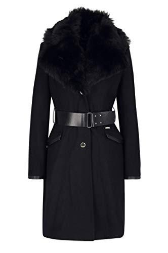 GUESS Abrigo Largo Negro Cuello Pelo Rosemary M -