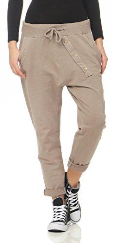 Malito Damen Jogginghose mit Knopfleiste   Sporthose in Unifarben   Baggy zum Tanzen   Sweatpants - Trainingshose 3302 (Fango)