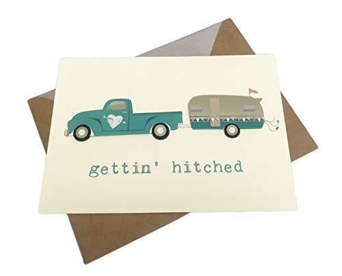 Gettin' Hitched Whimsy Verzierter blauer Pick-Up-Truck mit Schinkenabschlepper, 12,7 x 17,8 cm, Hochzeits-Grußkarte und Umschlag