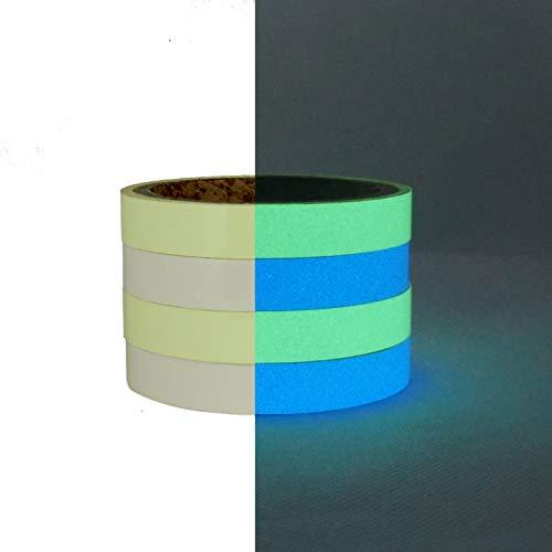 (4Packungen Luminous Tape 1,5cm x 3m Glow in The Dark Tape Selbstklebend, langnachleuchtend Wasserdicht Abnehmbare Safty Tape Wall Dekorative Aufkleber)
