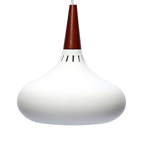 E27 Métal Moderne Suspensions Luminaires Aluminium et Bois Suspensions Luminaire Plafonnier Luminarie Blanc Vernis Plafond Lustre Suspensions Luminaire Contemporain Suspensions Lampe(Blanc)