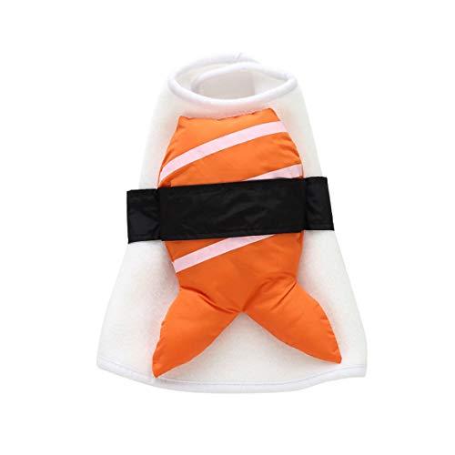 JohnJohnsen Kleidung Lustige Halloween für Hunde Winter-Hunde-Bekleidung Sushi Cosplay Anzug Katzen-Kostüm-Haustier-Mantel-Jacken-Outfit (White & Black & orange)