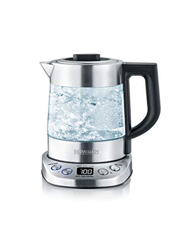 SEVERIN WK 3473 Glas-Tee-/Wasserkocher Deluxe Mini (ca. 2.200 W, mit Temperaturregler, Für 1 L Wasser/0,75 L Tee) edelstahl/schwarz