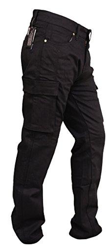 SGI-BIKE Herren DupontTM Kevlar Motorrad Jeans Hose Motorradjeans mit 4X Protektoren (Cargo Black) (W40/L31)