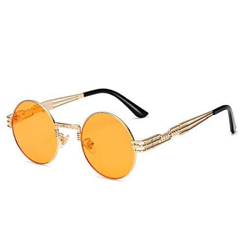 AOCCK Sonnenbrillen,Brillen, Steampunk Sunglasses Men NEW Uv400 High Quality Red Blue Yellow Clear Round Sun Glasses Vintage Retro Oculos De Sol Masculino gold-orange