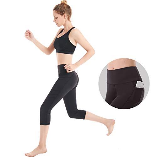 Picotee Women's Workout Leggings High Waist Yoga Pants Running Leggings Gym Workout Pants Pockets(Medium, Black)