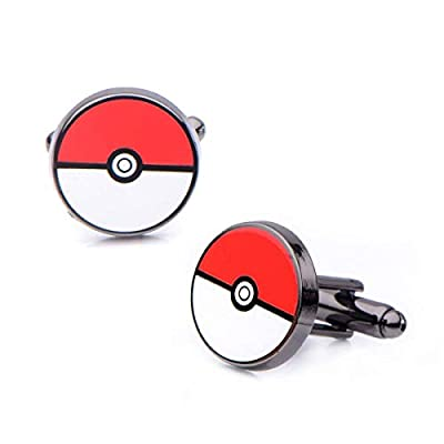 Oficial Pokemon Pokeball inoxidable acero PVD negro plateado gemelos - en caja de SalesOne International, LLC