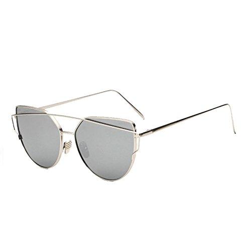 SUNGLASSES Mode-Klassiker-Sun-Augen-Stern mit Sonnenbrille Sonnendurchbruch-Tendenz-Sonnenbrille (Farbe : Gold Frame White Mercury)