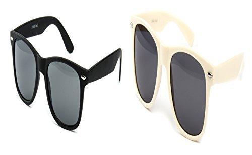 2 er Set Partybrille Sonnenbrille Brille Schwarz Matt Gummiert + Beige Way Farer