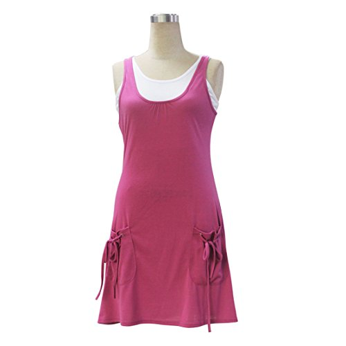 Zweiteiler Blusen Kleid Damen Mode Petticoat Rundhals Schrittrock Tasche Abiballkleid Einfarbig Blusenkleider ärmellos Ballkleid Sommer Strandkleider Rot