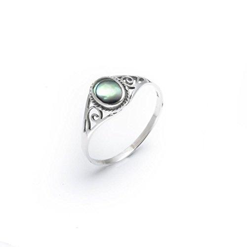 Ringe Frauen Für Schmuck (Silverly Frauen 925 Sterling Silber Abalone Muschel netter Ring)