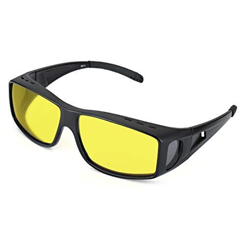 LVIOE übergroßen Nachtsichtbrille Autofahren für Brillenträger Gelbe Sonnenbrille über Brille Damen Herren Nachtsichtbrille Autofahren Polarisiert 100% UVA UVB Schutz (Matt-schwarz/gelb)