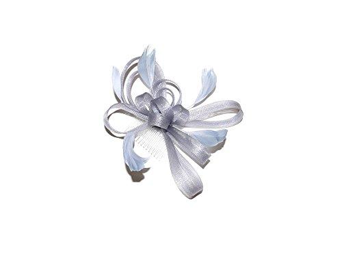 Impresionante accesorio para el pelo de plumas y trenzas, color plateado, carreras de bodas