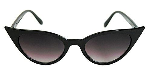 50er Jahre Damen Sonnenbrille Cat Eye Rockabilly Modell schwarz 73 (Schwarz)