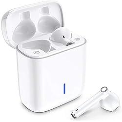 Écouteurs Bluetooth, Luvfun Oreillette Bluetooth sans Fil à réduction de bruit stéréo intra-auriculaires casque avec sans fil avec étui de chargement portable compatible Smartphone Android - Blanc