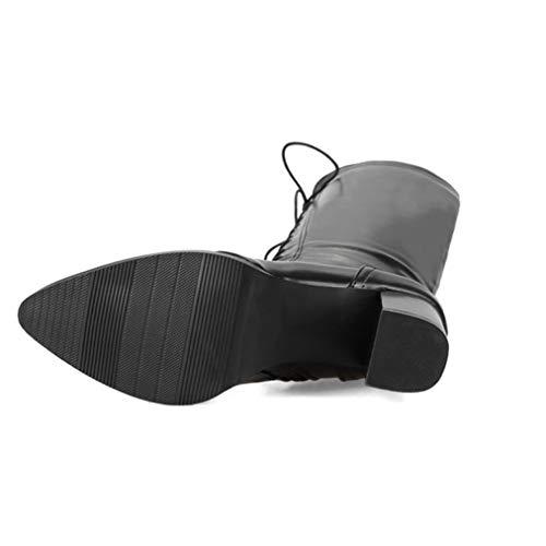 Dame Fashion High Tube Knight Stiefel PU Leder Damen Square Heel Schuhe schnüren Sich Oben Spitze Zehen Stiefel -