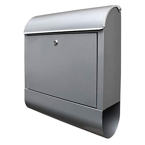 banjado - Design Briefkasten mit Zeitungsfach aus Stahl Wandbriefkasten DIN A4 groß Postkasten