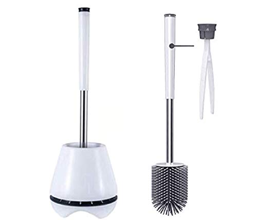LEBEXY Toilettenbürste Silikon WC-Bürste mit Garnitur hygienische Edelstahl Ersatz Klobürste Elegante Toilettenbürstenhalter (Grau)