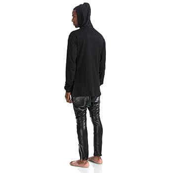 Pizoff Unisex Hip Hop Gotik Punk Zip Up Extra Long Black Coat Jacket Hoodie 2