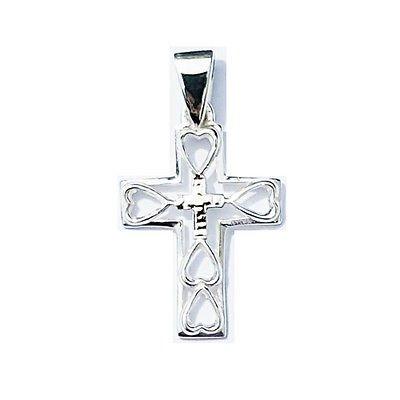 Bolivienne Argent Sterling 925Double pendentif–Croix avec Quadruple cœurs cadeau –