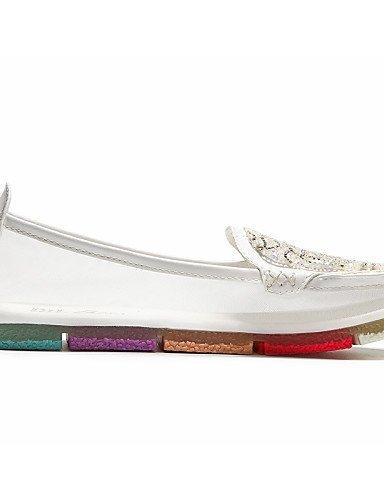 ShangYi gyht Scarpe Donna - Mocassini - Ufficio e lavoro / Formale / Casual - Comoda - Piatto - Sintetico - Bianco / Royal Blue White