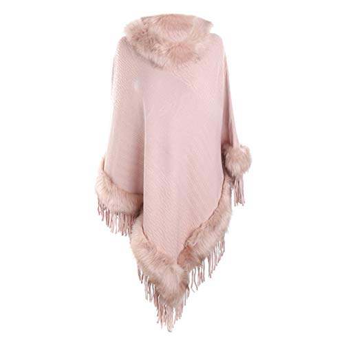 Scialli stole donna elegante cerimonia sciarpa di scialle di cashmere con frange e collo in pelliccia di lana tinta unita casual moda caldi (taglia unica, rosa)