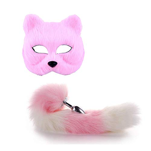 Red Plüsch Half Face Fox Maske mit Long Tail Animal Cosplay Kostüm Requisiten Zubehör (Fox Tail Kostüm Zubehör)