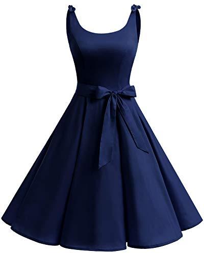Bbonlinedress 1950er Vintage Polka Dots Pinup Retro Rockabilly Kleid Cocktailkleider Navy M