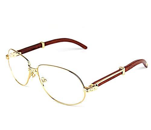 LKVNHP Neue Hochwertige Herren Sonnenbrillen Markendesigner Hochwertige Brillengestell Holz Eyeware Vintage KlaresHolz Gold Optisch