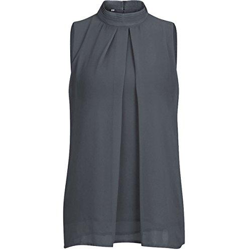 QHDZ Frauen ärmellose Chiffonbluse Mock Neck Double Layer Kausal Shirts Tunika Tops Mode Frauen Bluse (Farbe : Dark Grey, Größe : S)