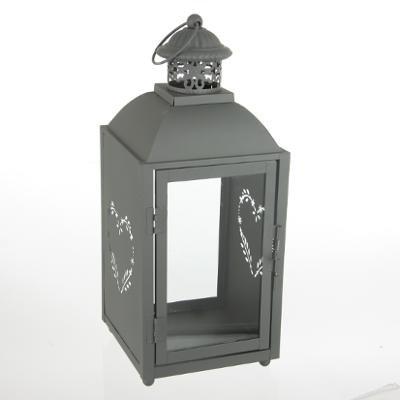 LANTERNE - PHOTOPHORE - LAMPION - motif coeur couleur blanc