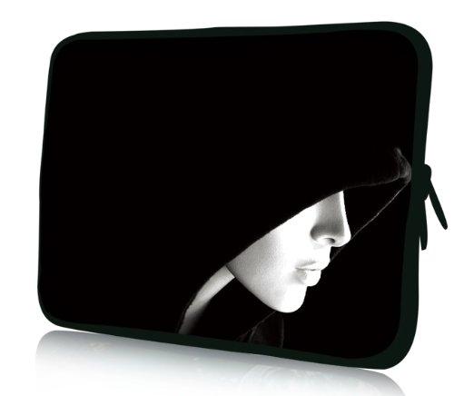 Luxburg® Design Laptoptasche Notebooktasche Sleeve für 17,3 Zoll, Motiv: Strümpfe Frau mit Kapuze