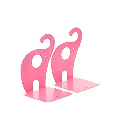 NUOLUX antideslizante sujetalibros Arte soporte para libros, diseño de elefante estilo (rosa)-1par