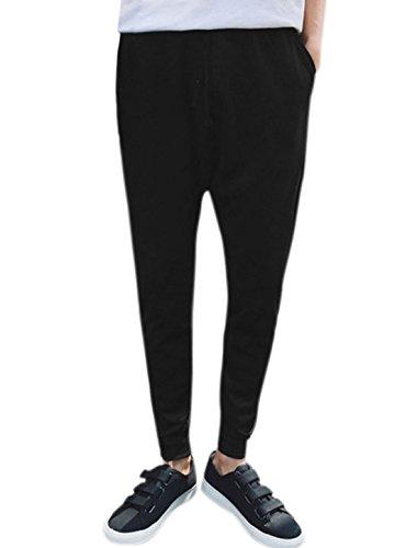 sourcingmap Hommes Imprimés Fantaisie Taille Moyenne Danse Hip Pop Pantalon Sarouel Noir