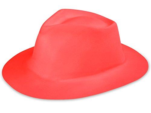 Alsino Kunststoff Karneval Scherzartikel Hut Al Capone Plastik Trilby Partyhut Fasching, Hut wählen:CW-65 rot