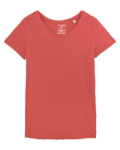 YTWOO Lara Damen Basic T-Shirt Aus 100% Bio-Baumwolle mit U-Ausschnitt, Bio Kurzarmshirt Farben Weiß und Schwarz bis Größe 2XL, Organic Cotton (XL, Hot Coral)
