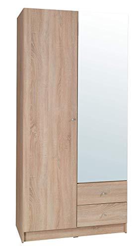 Movian Morava 2-türiger Kleiderschrank mit Spiegel, 100 x 212 x 59cm, Sonoma-Eiche Optik