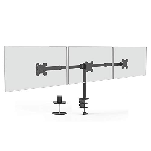 WALI LCD-Monitorhalterung Horizontal Triple Arm Desk Monitor Mount schwarz -