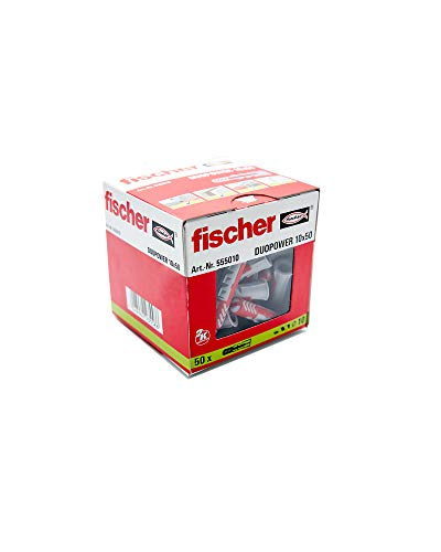 FISCHER 55010 Taco DuoPower 10x50 (Caja de 50 Ud.), 555010, Gris/rojo, 0, Set Piezas