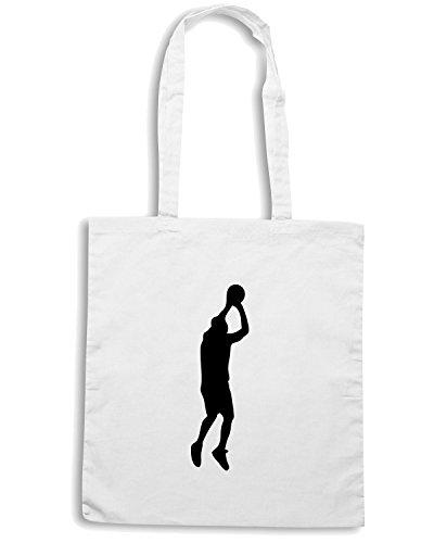 T-Shirtshock - Borsa Shopping SP0032 Basketball Player Throwing Maglietta Bianco