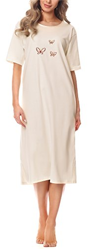 Merry style camicia da notte donna 91lw1(ecru(manica corta), xl)