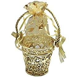 Gold Bucket Shape Pouch Box With 10 Grams Silver Coin Pure SIlver 999 Coin Lakshmi Coin 10 Gms Akshaya Tritiya Gift