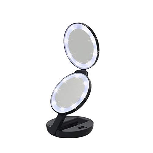 Kosmetikspiegel, 5X Vergrößerungs-doppelseitiger Schminkspiegel mit LED-Leuchten, Rasierspiegel besten für Badezimmer-Tischplatte - Schwanenhals Vanity Licht
