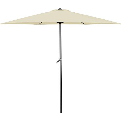 Deuba Sonnenschirm Aluminium Ø300cm mit UV-Schutz 40+ inkl. Kurbel + Dachhaube mit Neigevorrichtung beige - Kurbelsonnenschirm Marktschirm Gartenschirm