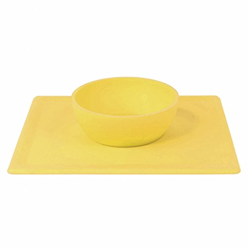 Non Slip Silicone Placemat for Babies and Children, Dishwasher Safe Feeding Bowl - BPA and Toxin Free (giallo)
