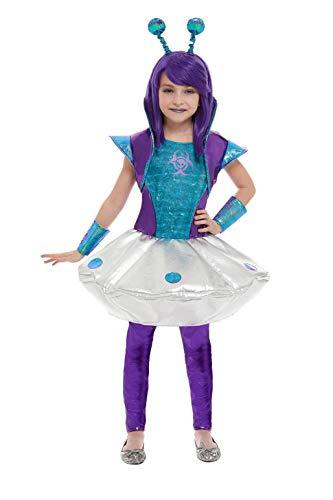 Smiffys 51042M Alienmädchen-Kostüm, Silber, M - Alter 7-9 - Alien Kostüm Mädchen