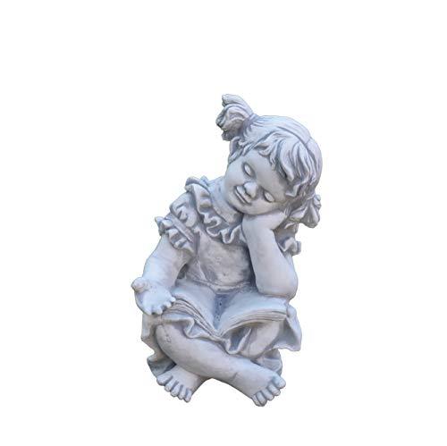 gartendekoparadies.de Massive große Steinfigur Mädchen mit Buch Kinderfigur aus Steinguss frostfest