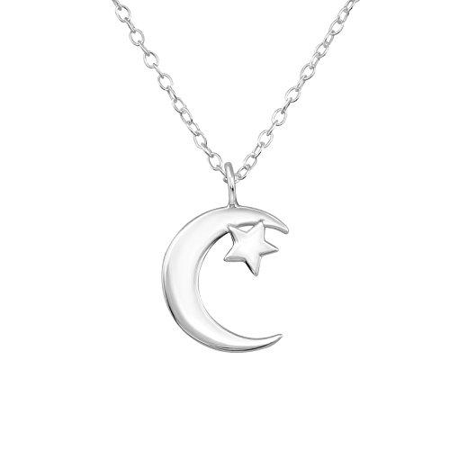 Tata Gisèle collar en plata 925/000Circona colgante media luna de luna y estrella